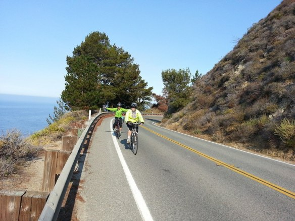 No hands riding with Sue on Highway 1 in Big Sur.