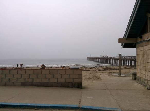 Cayucos pier. No sunshine yet, but the heat was found in the form of cinnamon candy!