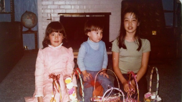 My older siblings with their Easter baskets, maybe 1979, since I'm not there. When I see childhood family Easter pictures, I taste cinnamon.