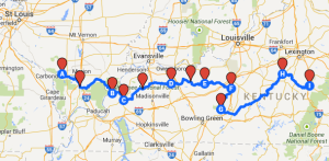 Map 10: From Murphysboro to Berea, July 19 to July 27