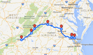 Map 12: From Christiansburg to Yorktown, August 4 to August 10