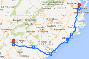 Map 13: Yorktown to Atlanta, August 11 to August 22