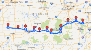 Map 9: From Girard to Murphysboro, July 11 to July 18