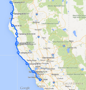 Map 1: Mountain View to Crescent City, April 19 to April 27.