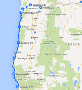 Map 2: Crescent City to Portland, April 28 - May 8