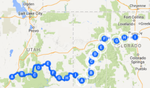 Map 4: Cedar City to Denver, June 11 - June 28