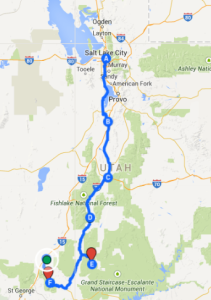 Map 4: Salt Lake City to Bryce Canyon and Zion National Parks and Cedar City, May 25 - June 10