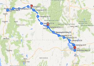 Map 3: May 9 - May 23, Portland, Oregon to Salt Lake City, Utah