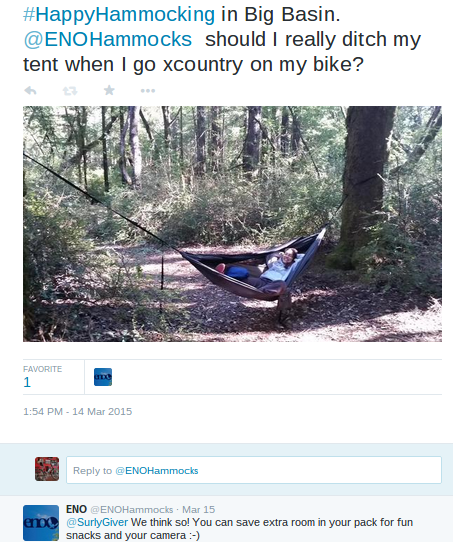 Amy Giver on Twitter #HappyHammocking in Big Basin. @ENOHammocks should I really ditch my tent when I go xcountry on my b (1)
