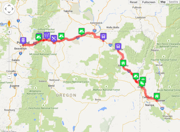 Our route from Portland to Boise, including the missing hunk with the shuttle bypass.