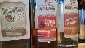 Deerhammer's own whiskey, unaged whiskey, and gin.
