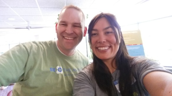 John and me manning the Be the Match table at the O.C. Tanner health fair.