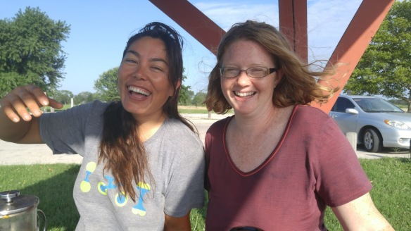 My friend Regina and me in Chanute, Kansas. She lives up by Kansas City and drove down to camp with me for a night. She brought ribs and beer! The next day we went swimming at a lake.