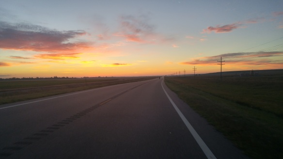 Sunrise on a scorching hot day, when it was best to ride before temperatures rose too high.