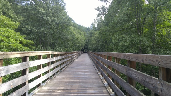A long bridge on the Virginia Creeper Trail.