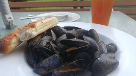 When on the coast, eat mussels and drink beer.