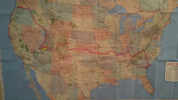 My niece and nephew kept a map of my progress!